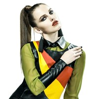 Leka Chiffon Blouse With Leather Cuff And Collar Green