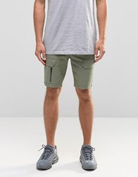 Asos Slim Cargo Shorts With Zips In Green Sea Spray