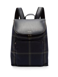 Paul Smith Checked Wool Blend And Leather Backpack Blue