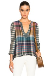 Raquel Allegra Tunic Top In Blue Pink Checkered And Plaid