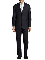 Saks Fifth Avenue Made In Italy Pin Stripe Wool Suit Black