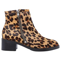 Air And Grace Coachella Block Heeled Ankle Boots Leopard