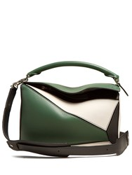 Loewe Puzzle Small Leather Cross Body Bag Green Multi