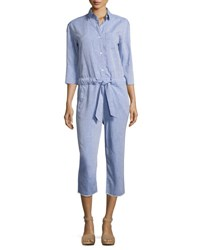 Dl1961 Watermill 3 4 Sleeve Belted Jumpsuit Blue