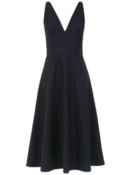 Andrea Marques V Neck Flared Dress Blue
