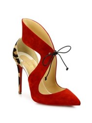 Christian Louboutin Ferme Rouge 85 Suede And Leopard Print Calf Hair Pumps Rougissime