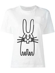 Peter Jensen Rabbit Print T Shirt White