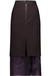 Maison Martin Margiela Layered Wool And Mohair Blend And Satin Midi Skirt Grape