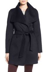 T Tahari Women's 'Ella' Belted Double Face Wool Blend Wrap Coat Navy