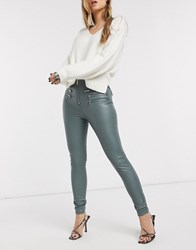 Topshop Faux Leather Biker Trousers In Sage Green