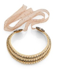 Erickson Beamon Stratosphere Crystal And Faux Pearl Ribbon Collar Necklace Gold Beige