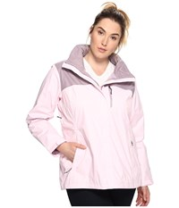 Columbia Plus Size Pouration Jacket Whitened Pink Sparrow Women's Coat
