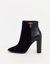 Ted Baker Inala Leather Heeled Ankle Boots Black
