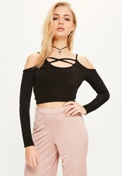 Missguided Black Cold Shoulder Cross Front Crop Top