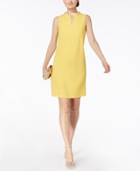 Nine West Sequined Mock Neck Shift Yellow