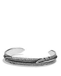 David Yurman Frontier Feather Wrap Cuff Bracelet With Black Diamonds Black Silver