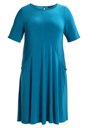 Evans Pocket Swing Jersey Dress Petrol Mint