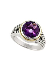 Effy 925 Amethyst 18K Yellow Gold And Sterling Silver Ring