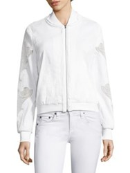 Kobi Halperin Zandra Baseball Collar Lace Sleeve Jacket White