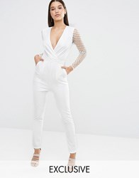Naanaa Tuxedo Plunge Jumpsuit With Cut Out Out Mesh Sleeve White