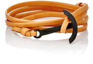 Miansai Modern Anchor On Leather Wrap Bracelet Brown
