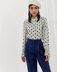 Sister Jane Shirt With Gathered Cuffs In All Over Star Print White Star