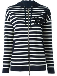 Twin Set Striped Hooded Cardigan Blue