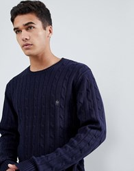 French Connection 100 Cotton Logo Cable Knit Jumper Navy