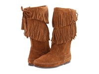Minnetonka Calf Hi 2 Layer Fringe Boot Dusty Brown Suede Women's Zip Boots