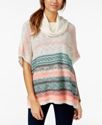 Eyeshadow Juniors' Striped Cowl Neck Sweater Poncho Snow White Bright Neon Coral