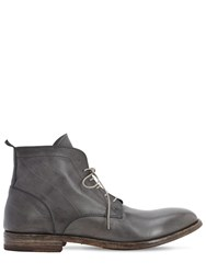 Moma Waxed Leather Lace Up Boots Grey