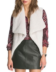 Bb Dakota Draped Open Front Sherpa Vest Ivory