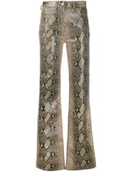 Tommy Hilfiger Flared Snakeskin Print Trousers Green