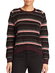 J Brand Ramona Striped Wool Blend Sweater Black Multi