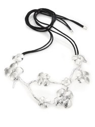 Josie Natori Self Tie Floral Necklace Silver