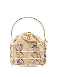 Rosantica By Michela Panero Marsala Tile Cage Clutch Gold Multi