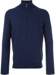 Malo Quarter Zip Knitted Sweater Blue