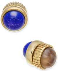 Marc By Marc Jacobs Gold Tone Dual Stone Magnetic Reversible Stud Earrings Lapis Multi
