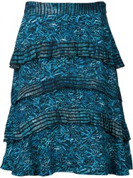 Proenza Schouler Tiered Printed Skirt Blue