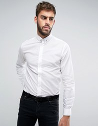 Noose And Monkey Skinny Shirt With Silver Spot Collar Bar Silver White