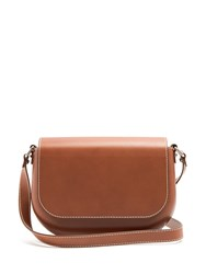 A.P.C. James Leather Cross Body Bag Tan