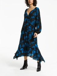 And Or Lebon Floral Dress Navy Blue
