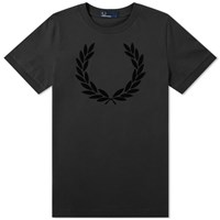 Fred Perry Laurel Wreath Flocked Tee Black