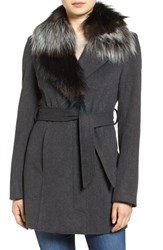 Sam Edelman Women's Wool Coat With Removable Faux Fur Collar Charcoal