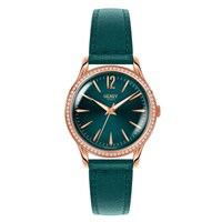 Henry London Ladies 34Mm Stratford Leather Watch With Stone Set Bezel Green Rose Gold