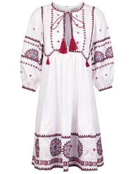 Talitha White Cotton Indian Peasant Dress Pink
