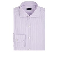 Finamore Striped Cotton Poplin Dress Shirt Purple