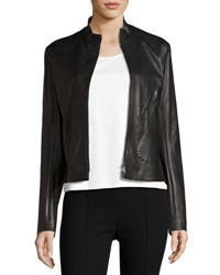 The Row Tripton Leather Zip Front Jacket Black