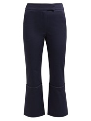 Zeus Dione Aristo Cotton Blend Cropped Trousers Navy