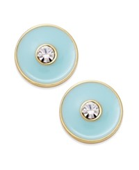 Kate Spade New York Set In Stone Gold Tone Crystal Center Round Stud Earrings Mint
